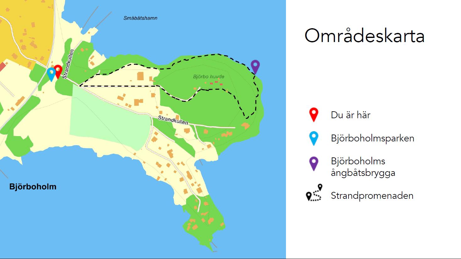 Områdeskarta över Björboholm och Föreningen Mjörn, 2021.